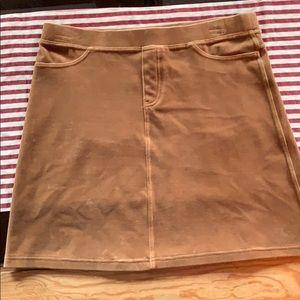 Tan velvet mini skirt
